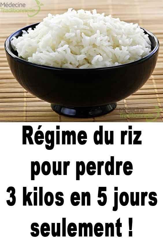 Régime du riz pour perdre 3 kilos en 5 jours seulement