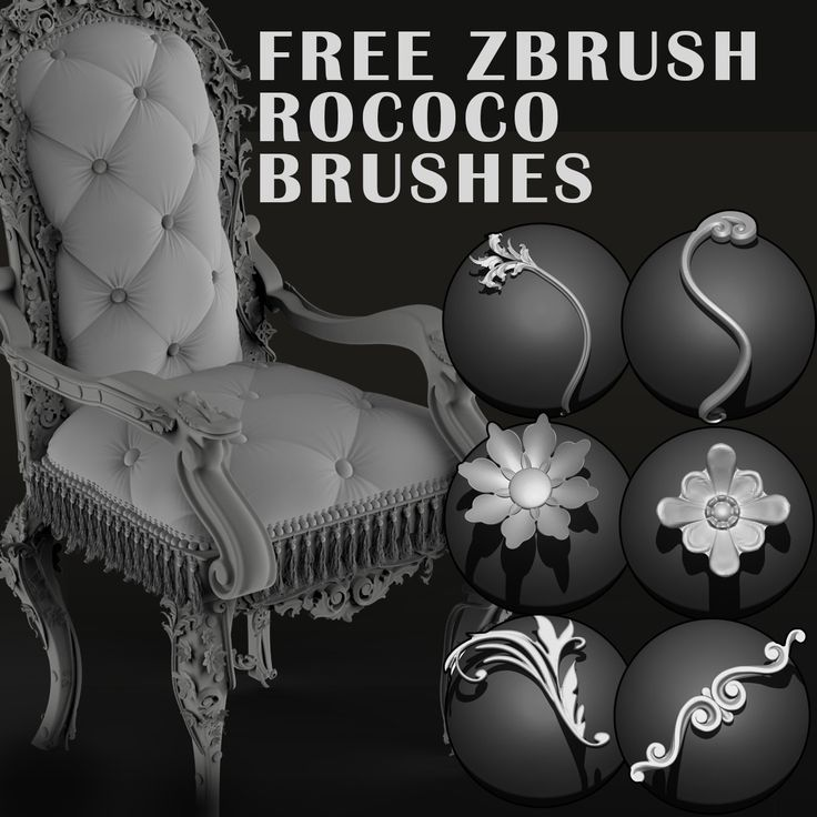 Free Zbrush Rococo Brushes, Paul Bannon on ArtStation at https://www.artstation.com/artwork/bdNNv