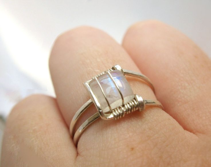 Moonstone Ring Sterling Silver Modern Square Design