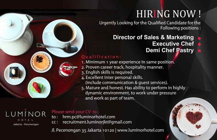 Luminor Hotel Jobs Info July 2017 - Hotelier Indonesia | Hotels Jobs Info