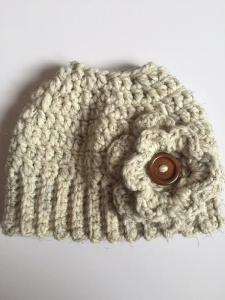 Super fun, newest, most popular hat there is out there! Premium chunky yarn, super soft and cozy hat that allows you to wear a pony tail or a messy bun, while keeping yourself warm! Flower is accented