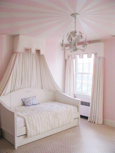 Window treatments.: Kids Girls, Idea, Girls Bedrooms, Princesses Rooms, Little Girls Rooms, Window Treatments, Stripes, Girl Rooms, Rooms Kids