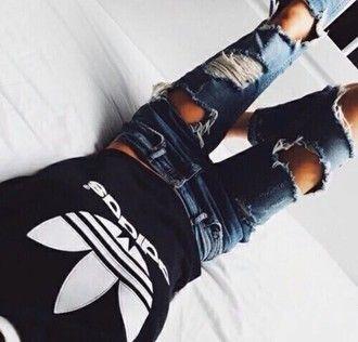 jeans blue ripped jeans blue jeans tight cute adidas shirt t-shirt tumblr fashion
