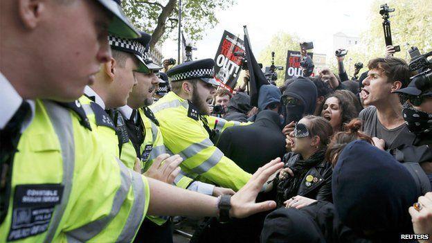 Police arrest 17 in anti-austerity protest in London Bbc News  #BbcNews