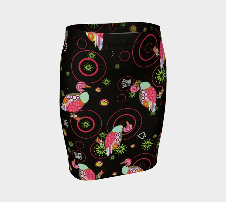 Knit pencil skirt womens girls stretch skirt knee length kitsch custom print skirt brown multi color color-pop graphic casual everyday wear