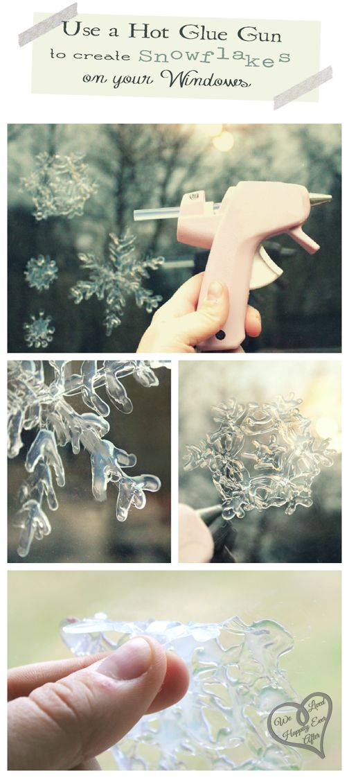 Use a Low Temperature Hot Glue Gun to Make Snowflakes on your Windows! If you are afraid that they will be hard to remove, you could always spray pam on a cookie sheet, make the designs on there and then just adhere them to the windows afterwards.
