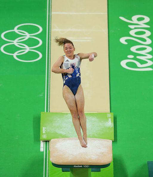 #RIO2016 Amy Tinkler of Great Britain practices on the vault during an artistic gymnastics training session on August 4 2016 at the Arena Olimpica do Rio in...