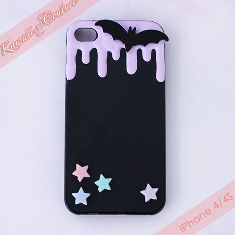 This listing is for a Custom Handmade iPhone 4/4S Decoden Case -- A black acrylic back-case drizzled with glossy lilac icing and topped with a cute black bat and accenting pastel stars. This unique & one of a kind case is perfect for anyone with a sweet tooth & great for accessorizing this Hallow...