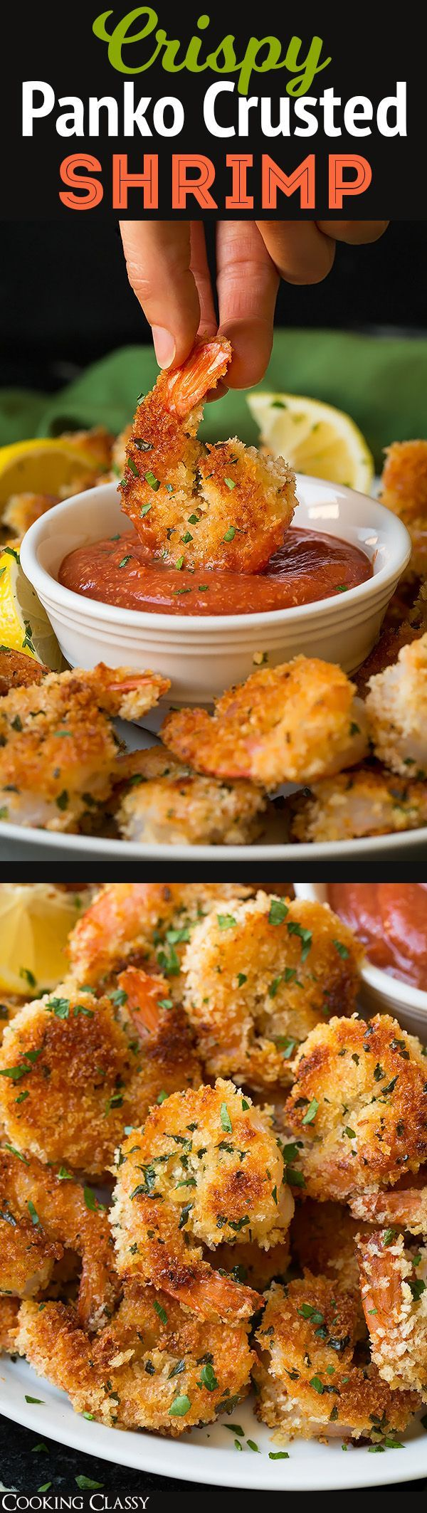 Crispy Panko Shrimp with Cocktail Sauce - perfect party food! These are perfectly crisp and so delicious!