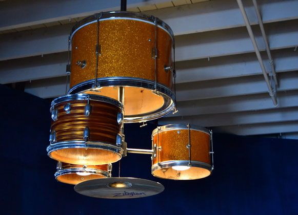 Pretty cool lighting made out of an actual drum set for the restaurant JJs Red Hats in Charlotte, North Carolina, USA. Made by the owners childhood friend and craftsman Matt Ludwig.