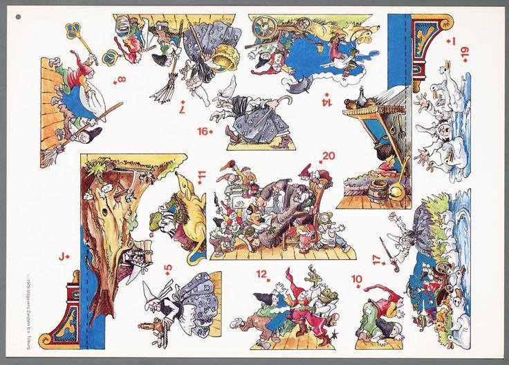 Papieren theater voorstellende verschillende figuren en coulissen tekenaar:  Dassen, Pieke