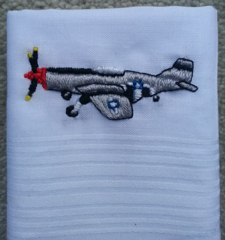 """My Dad is a huge plane enthusiast so I embroidered this P-51 Mustang on to a plain white handkerchief for him for Christmas. I designed the embroidery based on a photograph I had previously taken of a Mustang at RAF Hendon. He said he was """"blown away"""". Awww!"""