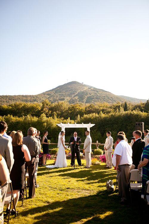 Garden Valley Pond Ceremony - Jay Peak Resort - Vermont Wedding