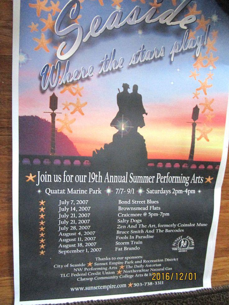 POSTER SEASIDE OREGON 2007 LEWIS & CLARK STATUE SUMMER PERFORMING ARTS