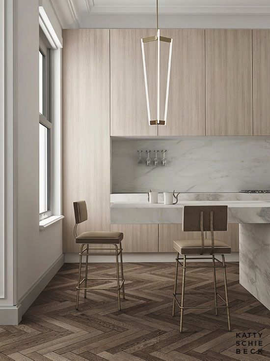 Etc Inspiration Blog Modern Barcelona Apartment By Katty Schiebeck Kitchen Side View Marble Island Herringbone Parquet Wood Floors photo Etc-Inspiration-Blog-Modern-Barcelona-Apartment-By-Katty-Shiebeck-Side-View.jpg