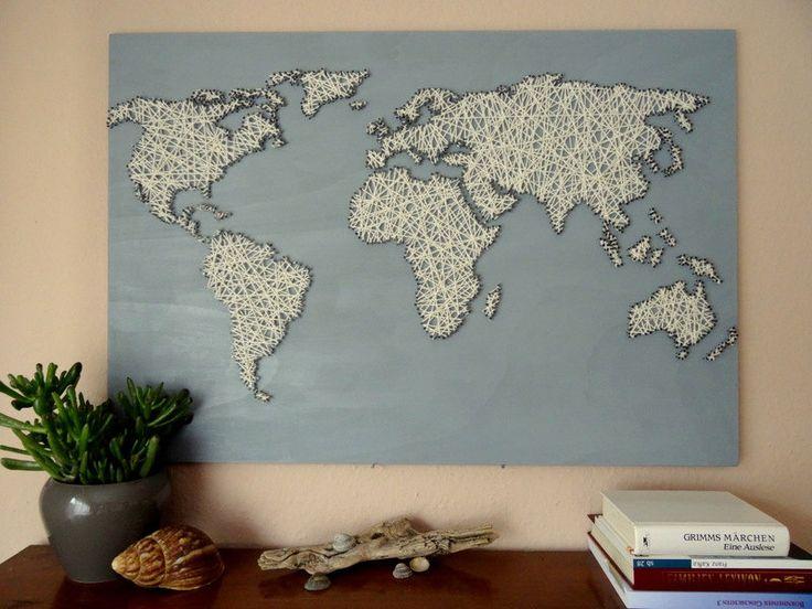 Kaart van de wereld gemaakt van hout. Grote door BeauGrandMonde