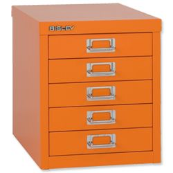 Product 103275, Description: Bisley GLO SoHo Multidrawer Cabinet 5-Drawer H325mm Orange Ref H125NL Orange - I bought this for myself as a treat a month ago and use it to store all of my small arts and crafts tools as well as decorative items as well. It's very heavy but so worth the cost! I bought mine in this exact shade and it is perfect just for me. This five drawer set comes in other colors as well: black, grey, white, dark blue, light blue, red, pink and I think green.