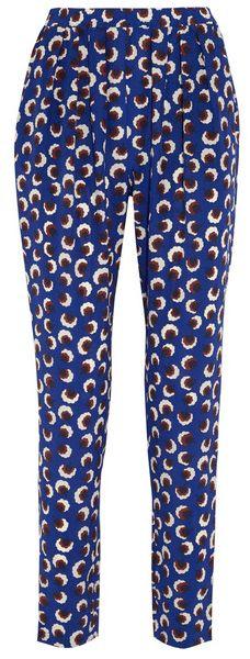 Pantalon en crêpe de Chineblau imprimé rond blanc marron et noir, Stella McCartney