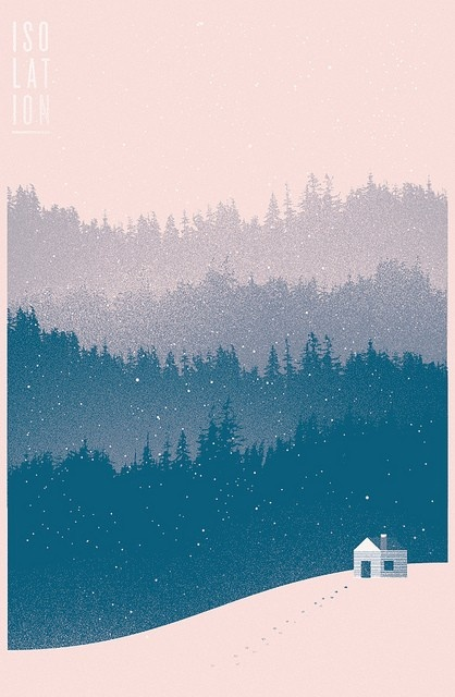 by richard perez  cabin in the woods, winter