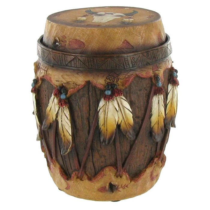 Stash your keys, your jewelry, and other small trinkets while accenting Native American, Western, or Southwestern decor with this Native American Round Trinket Box! This unique, interesting piece is m