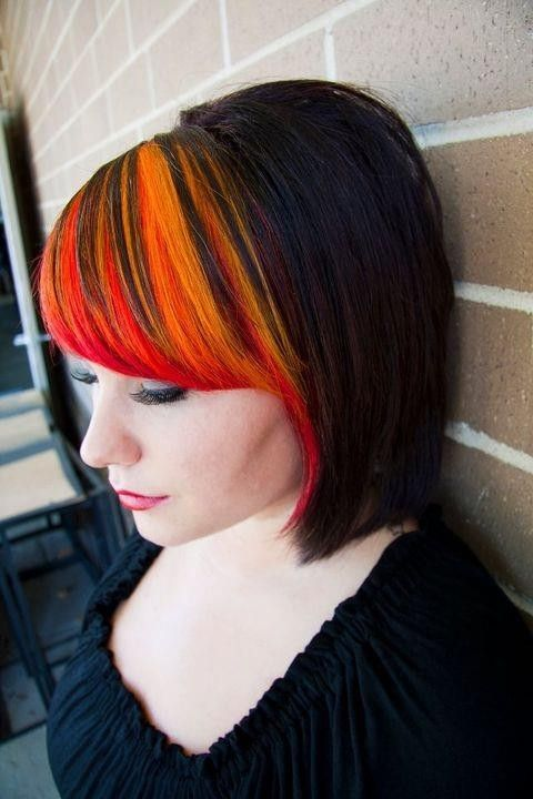 black hair with bangs, orange peekaboo bangs
