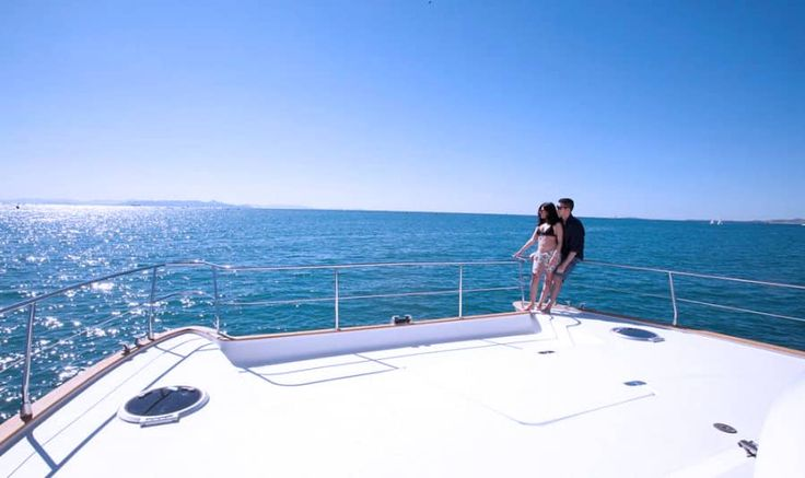 Climb aboard the Emily - Power Catamaran from Sunset Oia Sailing Cruises and take a cruise with your loved one.