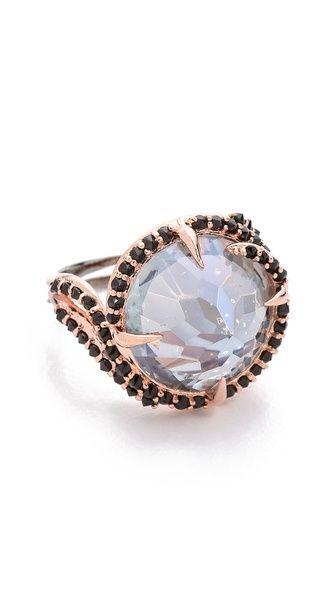 """Katie Rowland """"Dark Forest"""" Rose Gold Claw & Topaz Ring"""