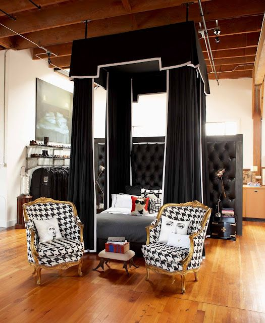 Old century fashion - houndstooth chairs in bedroom closet