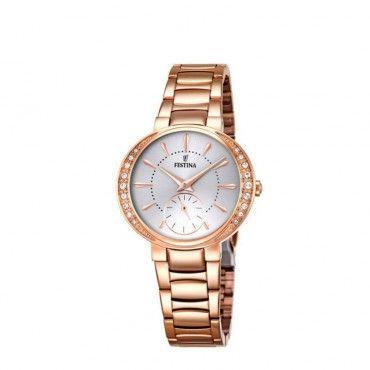FESTINA rose steel bracelet F16911/1 Γυναικείο fashion ρολόι FESTINA με ζιργκον και ροζ επίχρυσο μπρασελέ | FESTINA ΤΣΑΛΔΑΡΗΣ στο Χαλάνδρι #Festina #απλο #λευκο #μπρασελε #ρολοι
