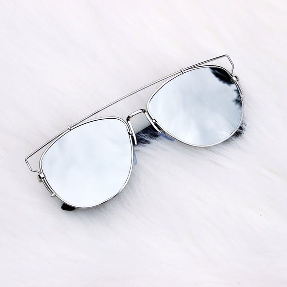 Oversized Unique Silver Mirror Sunglasses Brand new! Silver metal oversized mirror sunnies with flat lenses with plastic temples. Photos are my own. Price is firm. Multiple available!  101511  •Serious buyers only, please don't ask me to make you a listing unless you plan on purchasing that day.   ❌No trades ❌No PayPal ❌No asking for the lowest price Accessories Sunglasses