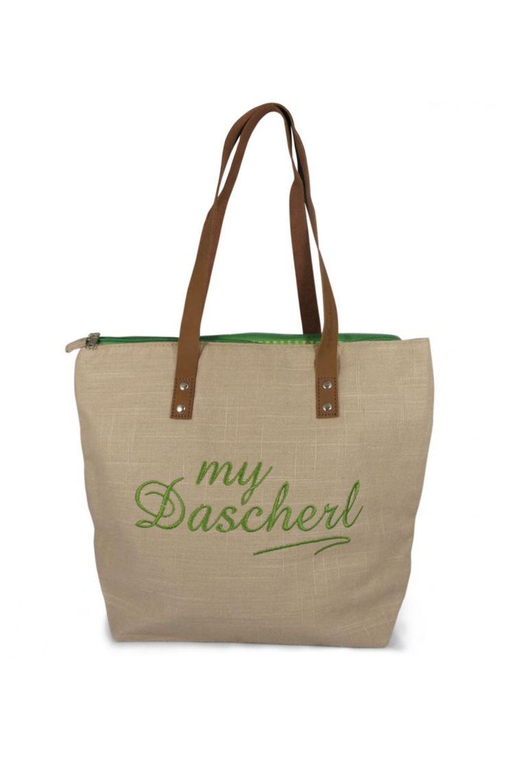 My Dascherl mit grüner Schrift - die besondere Trachtentasche aus Leinen.