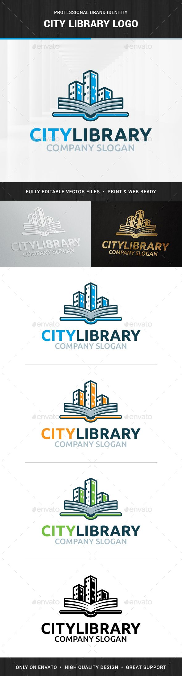 The City Library Logo Template A stylish and modern logo for many kinds of business. All elements are fully vector and can be used