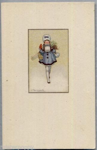 BOMPARD-Bambina-con-regali-Childrens-Girl-with-Packets-PC-Circa-1920