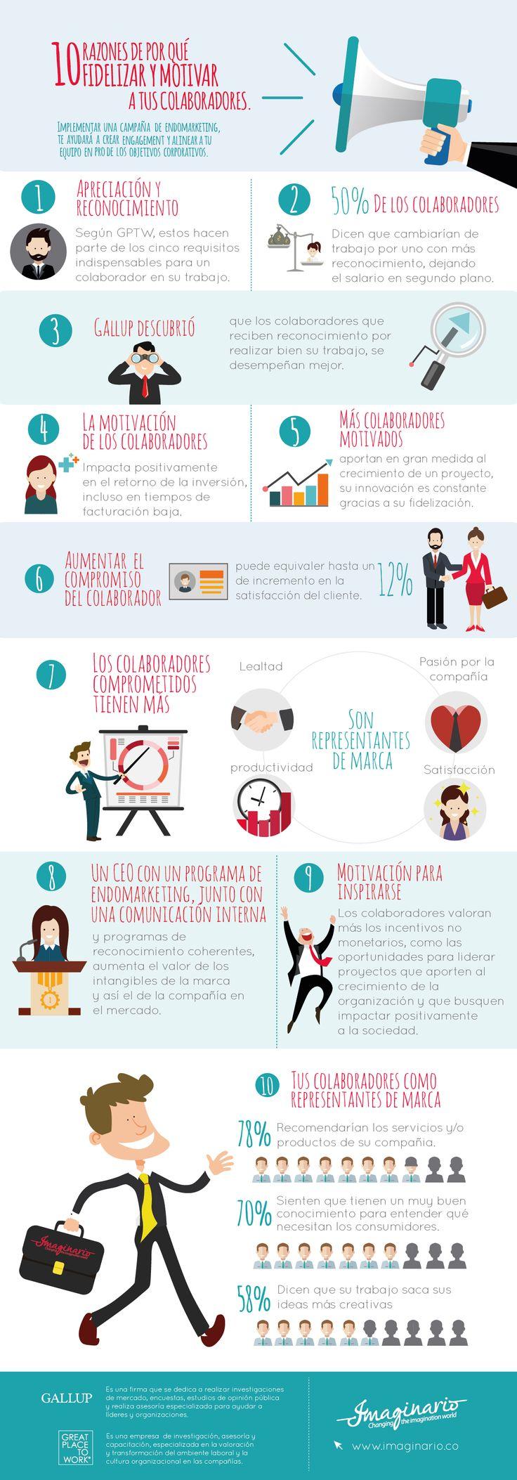 Motivar y reconocer a los colaboradores de una organización es un objetivo fundamental para el desarrollo y crecimiento de la misma, pues está claro que lo que se vive al interior de una compañía se refleja hacia sus públicos externos, por eso te dejamos 10 razones por las que deberías fidelizar y motivar a tus empleados.