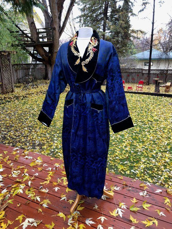 288812363f5 Vintage Blue Silk Kimono Red Gold Dragon Embroidered Lapel Robe Black  Velvet Trim Lined Asian Traditional Boho Fashion Jacket Japanese Robe