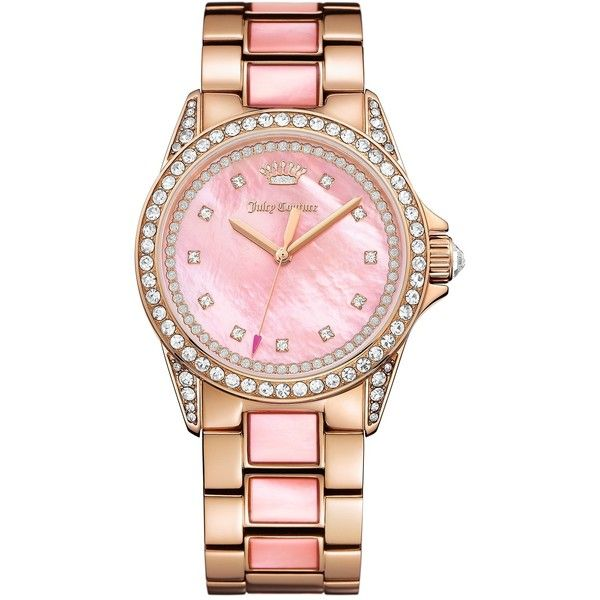 Juicy Couture Women's Charlotte Crystal Bracelet Watch ($179) ❤ liked on Polyvore featuring jewelry, watches, pink mother of pearl, crystal watches, juicy couture watches, pink bracelet watch, crystal jewelry and pink dial watches