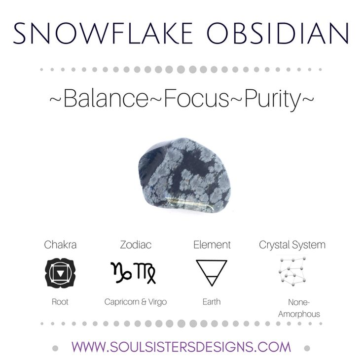 Metaphysical Healing Properties of Snowflake Obsidian, including associated Chakra, Zodiac and Element, along with Crystal System/Lattice to assist you in setting up a Crystal Grid. Go to https:/stoulsistersdesigns.com to learn more!