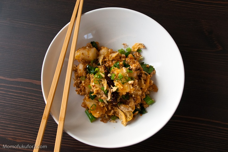 Spicy Pork Sausage & Rice Cakes (momofuku recipe) (love it)