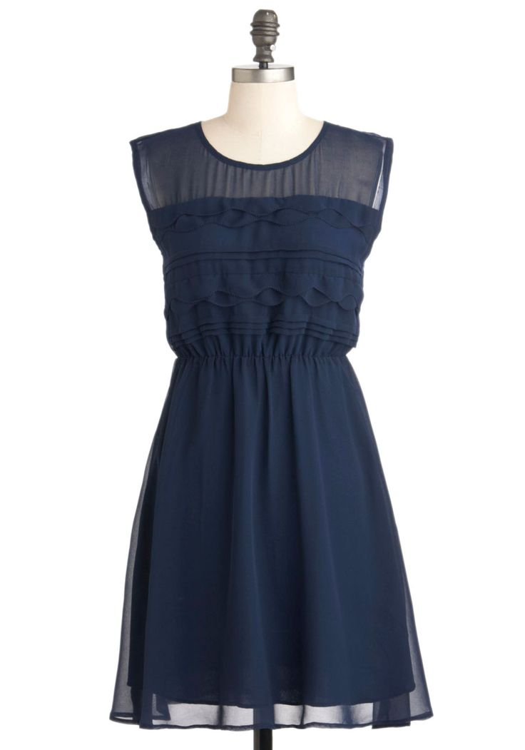 Vogue Wave Dress. A tide of true fashion is about to overcome the sidewalks of your city, for you're ready to flaunt the tiered waves and pintucks on the top of this navy-blue dress! #blue #wedding #bridesmaid #modcloth