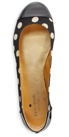 Polka dot Kate Spade flats. Black and white.