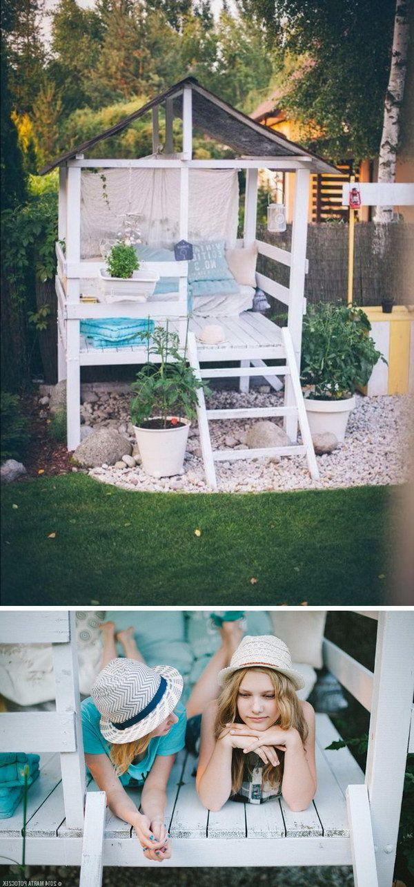 Baue selbst ein Spielhaus für den Garten: Bauanleitung #stelzenhaus #spielturm #d …   – Kinder