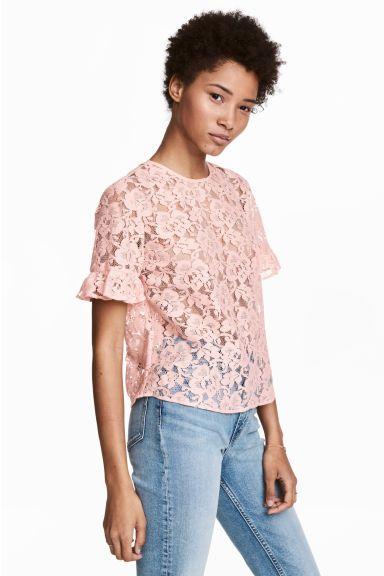 Kanten blouse met volants - Poederroze - DAMES | H&M NL 1