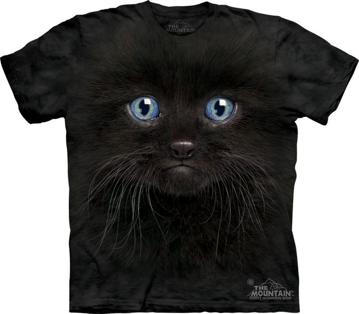 black kitten face t-shirt - Click image to see hundreds of different animal t-shirts #themountaintees