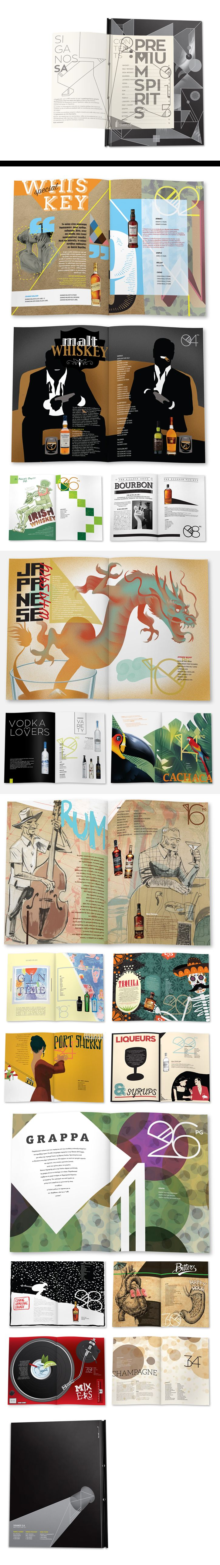 SIGANOS SA is a company of liquor distribution and trading. The company wanted to create a catalogue of the premium spirits it offers, targeted at bar-tending professionals. The concept was based on promoting each spirit's country of origin and its culture, thus creating attractive images in readers' minds. Our aim was to highlight each spirit's exquisite character through the idea of cosmopolitanism; a tasting journey that may inform, as well as inspire bartenders to try new combinations