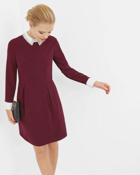 Embellished collared dress - Oxblood   Dresses   Ted Baker