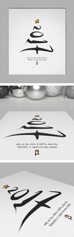 Christmas & New Year Greeting Cards by Vasilis Magoulas / #newyear #christmas #2017 #greeting-card #typography