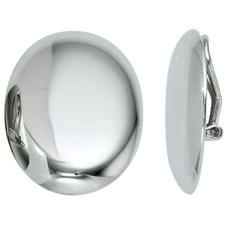 Ohrclips oval 925 Sterling Silber rhodiniert Ohrringe Clips | Schmuck günstig http://www.ebay.de/itm/152542860307
