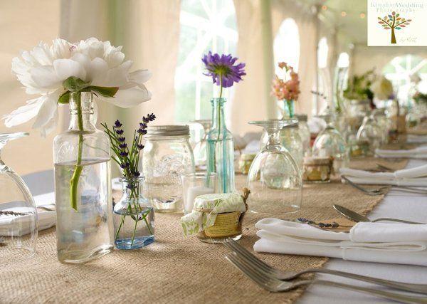 Rehearsal dinner decor runners vases and table runners for Wedding dinner table decoration ideas