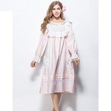 2015 100% хлопок полный рукав мило старинные королевский стиль длинное платье пижамы пижамы шелковый шнурок принцесса женщины ночной рубашке ла халат(China (Mainland))