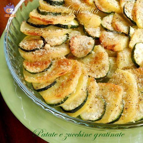 Patate e zucchine gratinate, un contorno gustosissimo, povero di grassi! si prepara semplicemente e si abbina sia a piatti di carne che di pesce.